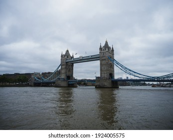 Panorama view of iconic landmark famous Tower Bridge over Thames river in London England UK Great Britain in Europe