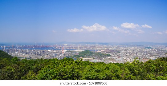 Panorama view of Industrial Complex of Mizushima Area in Kurashiki City, Okayama Prefecture, Japan. Okayama prefecture is the prefecture facing the Seto Inland Sea.