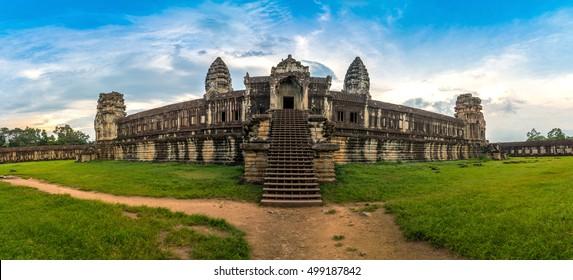 Panorama view inside an Angkor Wat in Siem Reap, Cambodia.