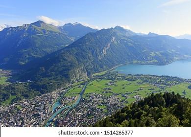 Panorama view of Interlaken and lake Thun from Harder Kulm, Switzerland.