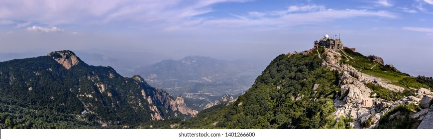 """Panorama view of the """"Jade Emperor Peak"""" at Tai Shan (""""Mount Tai""""), one of the """"Five Great Mountains"""" of Daoism - Panorama from 9 pictures"""