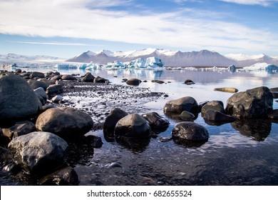 Panorama view of Jokulsarlon glacial lake ice lagoon in Iceland