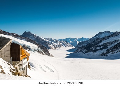 Panorama view of Jungfrau Mountain Range in Switzerland with Great Aletsch Glacier
