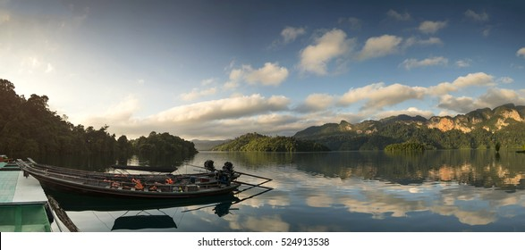 panorama view of  khao sok National Park with Long tail boat, Suratthani Thailand.