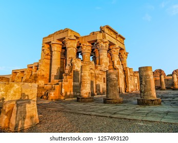A panorama view of the Kom Ombo Temple near Aswan, Egypt in summer