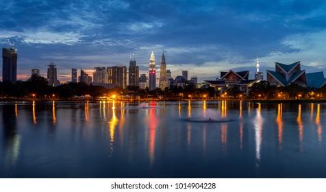 Panorama view of Kuala Lumpur skyline in the morning at Titiwangsa Park