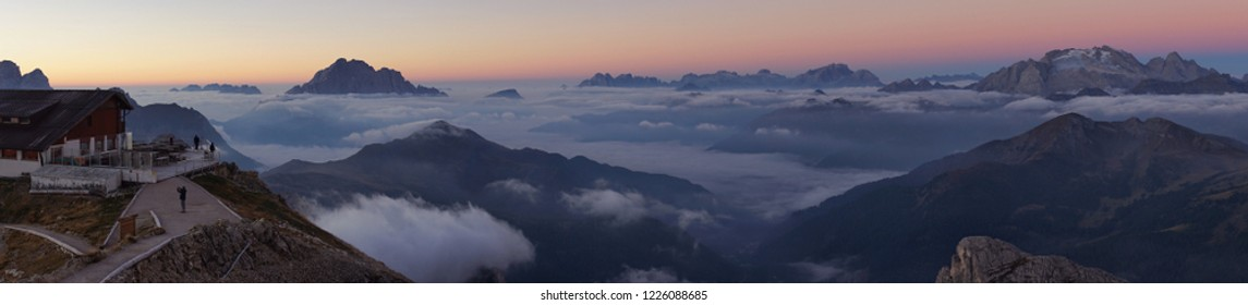 Panorama view from Lagazuoi mountain top, Belluno, Italy at sunrise