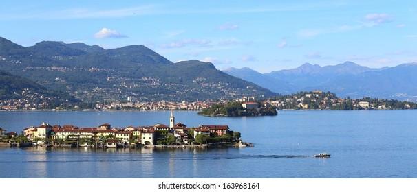 panorama view of Lago Maggiore,  Italy