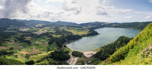 Panorama view of Lagoa das Furnas and surrounding farms and villages