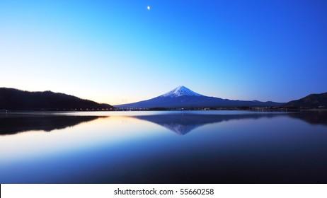 panorama view of lake Kawaguchi and mountain Fuji, Japan