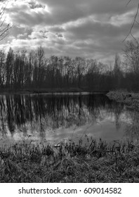 Panorama view of lake and trees with dramatic clouds
