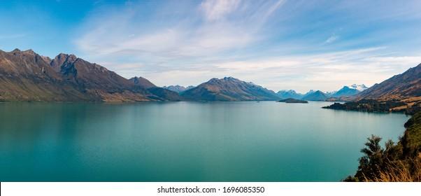 Panorama view of Lake Wakatipu, South Island, New Zealand