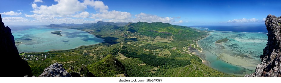Panorama view from Le Morne Brabant mountain a UNESCO world heritage site  Mauritius