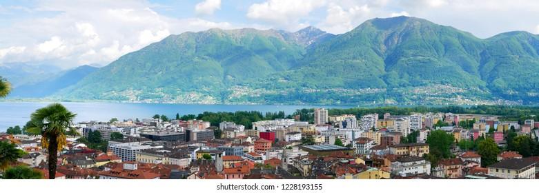 Panorama View to Locarno City from Cardada Mountain, Swiss Alps, Switzerland