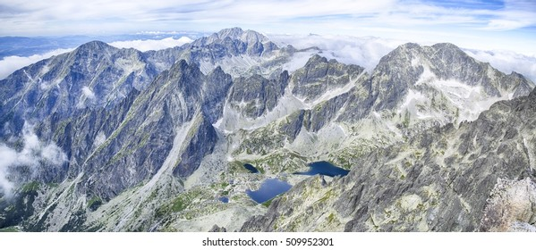 Panorama view from Lomnicky shield in Tatras, Beautiful view of Lomnicky Stit in the National Park High Tatra, Slovakia