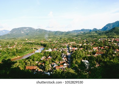 Panorama view of Luang Prabang (Laos) from the top of Phou Si, the hill that dominates the city, a popular location for sunrise / sunset views.