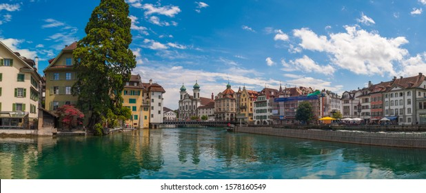 Panorama view of Lucerne, Switzerland and Reuss river