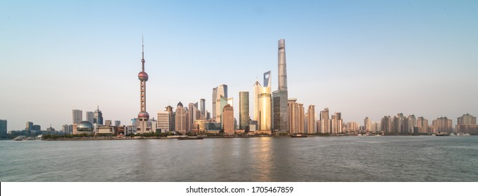 Panorama view of Lujiazui, the financial district in Pudong, Shanghai, China.