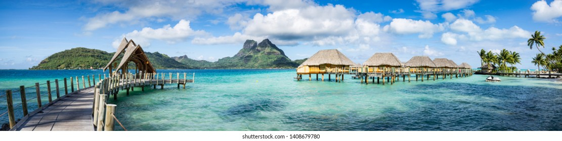 Panorama view of a luxury beach resort on Bora Bora, French Polynesia
