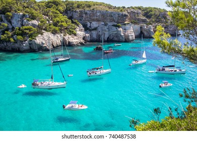 Panorama view of Macarella beach in Menorca, Balearic Islands, Spain
