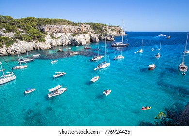 Panorama view of Macarella beach in Menorca, Balearic Islands, Spain