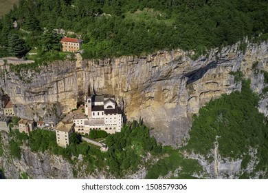 Panorama view of Madonna della Corona, Italy. Flight by a drone. Popular travel destination in Nothern Italy.