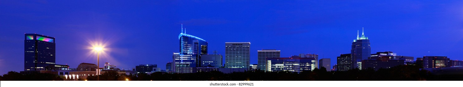 Panorama View of Medical Center Skyline at Night, Houston, Texas
