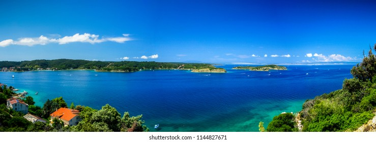panorama view of mediterranean sea in northern Croatia, island Rab with its beautiful turquoise color of water and nature