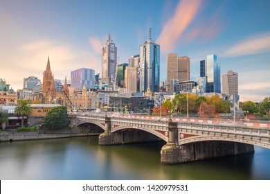 Panorama view of Melbourne city skyline at twilight in Australia
