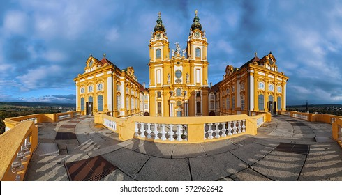 Panorama view of Melk Abbey, Wachau valley, Lower Austria.