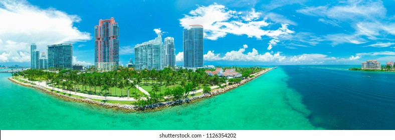 Panorama view of Miami Beach, South Beach, Florida, USA.