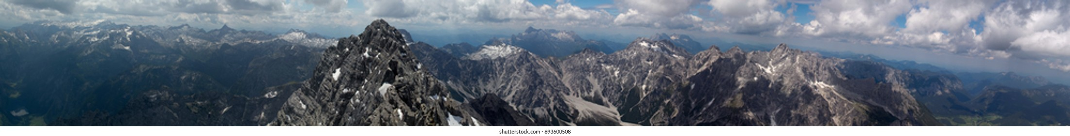"""Panorama view from the mid peak of the """"Watzmann"""" in the German Alps"""