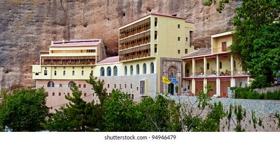 The panorama view of The Monastery of Mega Spilaio (the Great Cavern) Kalavryta, Greece