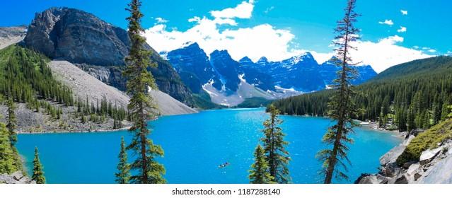 Panorama view at Moraine Lake at Jasper National Park, Alberta, Canada