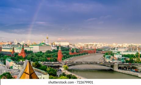Panorama view of Moscow. The Kremlin. rain, sun, rainbow. Russia.
