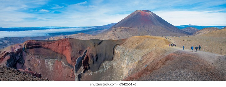 Panorama view of Mount Ngauruhoe and the Red Crater