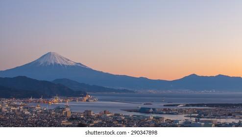 Panorama view of Mountain Fuji and Shimizu port at sunrise