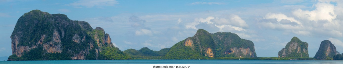 Panorama view the mountain that is a symbol of  Pak Meng Beach is a tourist attraction of the Trang province, Thailand