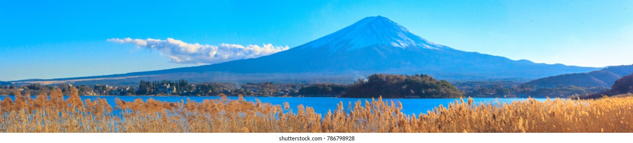 Panorama view. Mt. Fuji in Japan in beautiful winter location. in Japan Beautiful tourist attractions that show the culture, traditions, visitors can visit every day. In the
