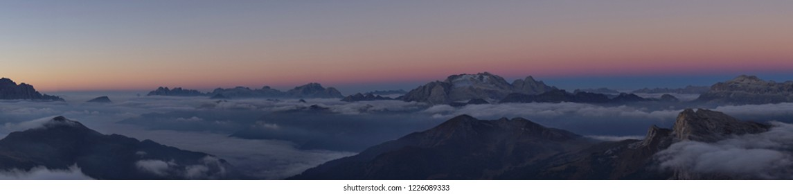Panorama view of Mt. Marmolada (3,343) from Lagazuoi mountain top, Belluno, Italy at sunrise
