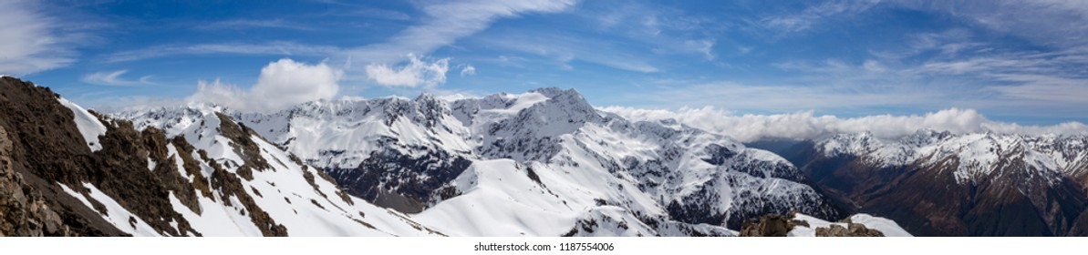 A panorama of the view of Mt Rolleston from the summit of Avalanche Peak, Arthurs Pass, New Zealand