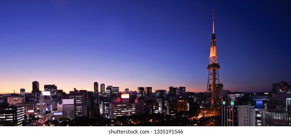 Panorama view Nagoya downtown and Nagoya TV tower skyline at twilight in Japan.
