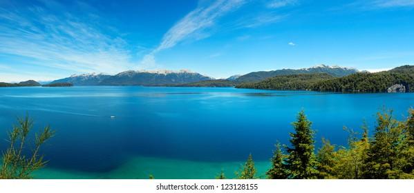 Panorama view of Nahuel Huapi Lake, Villa La Angostura, close to Bariloche, Argentina, South America