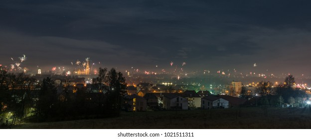 Panorama view to the New Years eve Firework in Regensburg, Silvester 2018, Germany