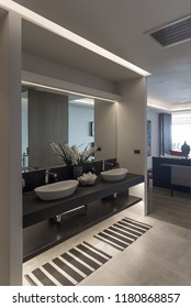 Panorama view of nice modern style  bathroom with double sink