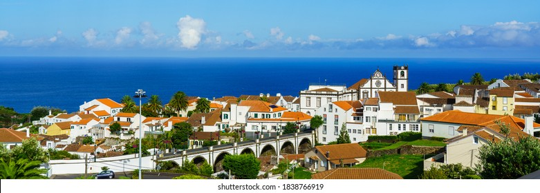 Panorama view of Nordeste on Sao Miguel Island, Azores. Old stone arch bridge in Nordeste village, Sao Miguel, Azores. Nordeste village with white town buildings on the island of Sao Miguel, Portugal.