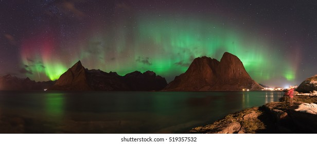 Panorama view of Northern Lights