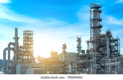Panorama view Oil and gas industry,refinery factory,petrochemical plant area at Sunrise with cloudy sky,copy space