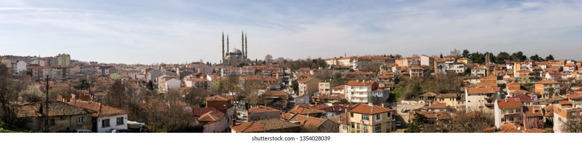 panorama view of old edirne houses and selimiye mosque in Edirne City of Turkey