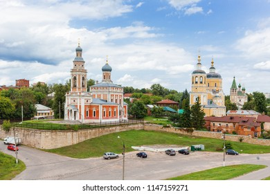 Panorama view on Assumption Church on the Hill and Church Of Elijah The Prophet, medieval orthodox churches in Serpukhov, Moscow region, Russia.